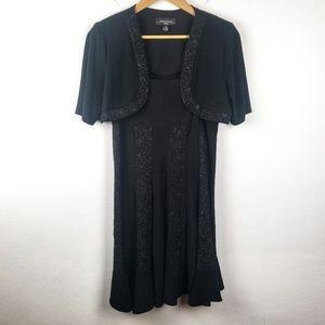 R&M Richards | Petite Black Midi Evening Dress 8P